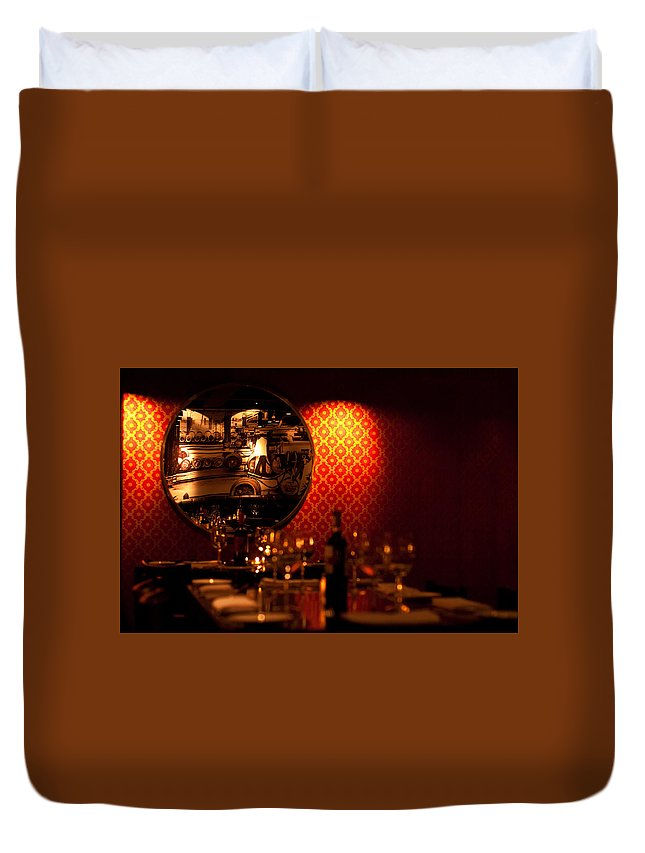 Red Duvet Cover featuring the photograph Red Wall And Dinner Table by Jess Kraft