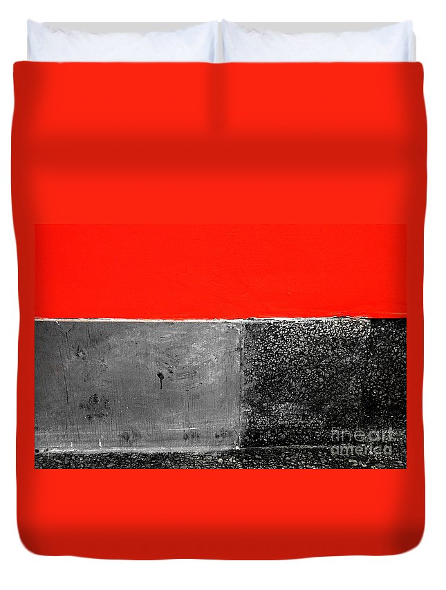 Newel Hunter Duvet Cover featuring the photograph Red Wall In Black And White by Newel Hunter