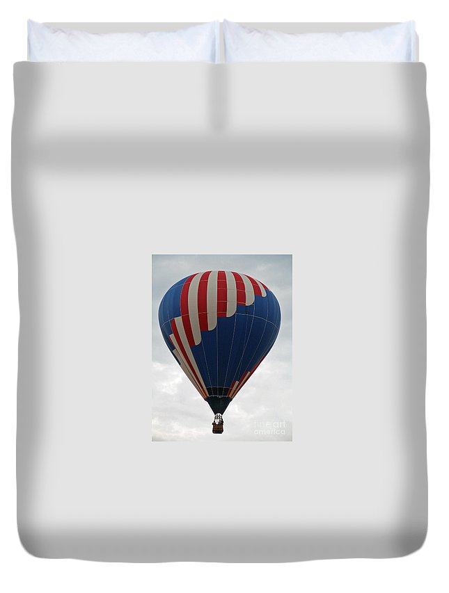 Hot Air Balloons Duvet Cover featuring the photograph Red White And Balloon 2 by Jamie Smith
