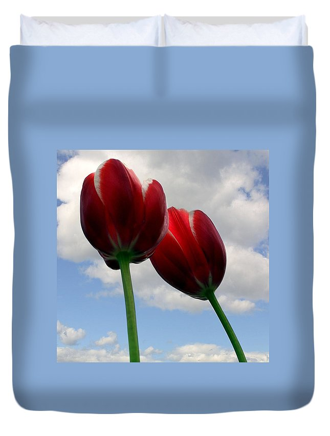 Clouds Duvet Cover featuring the photograph Red White and Blue by Michelle Calkins
