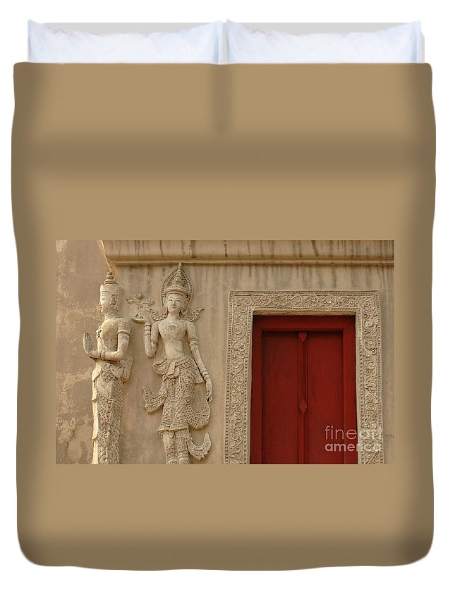 Chiang Mai Duvet Cover featuring the photograph Red Window Chiang Mai by Bob Christopher