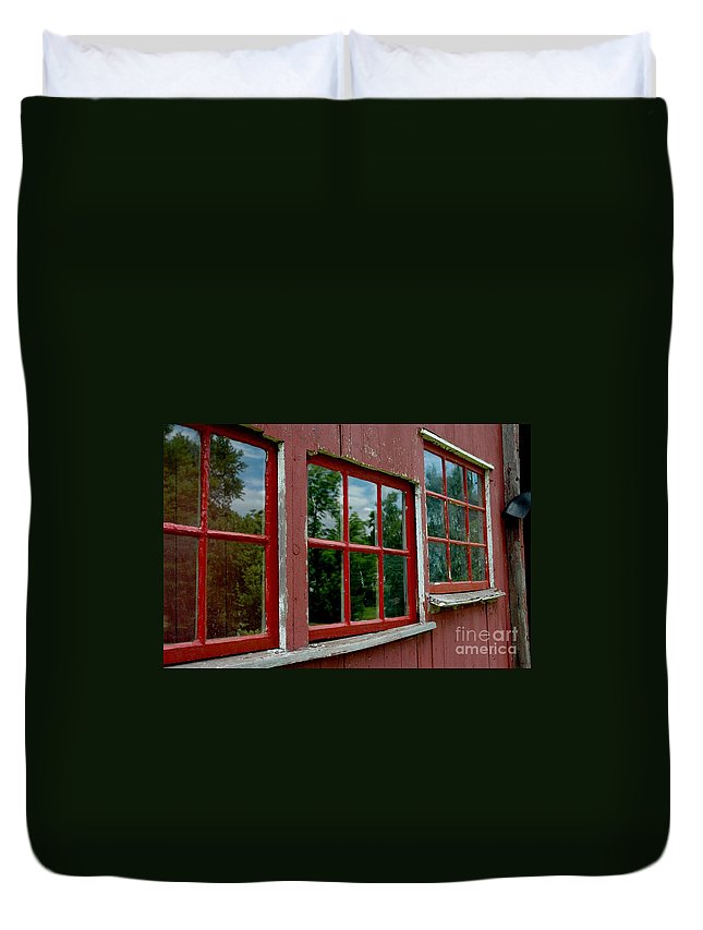 Red Duvet Cover featuring the photograph Red Windows Paned by Christiane Hellner-OBrien