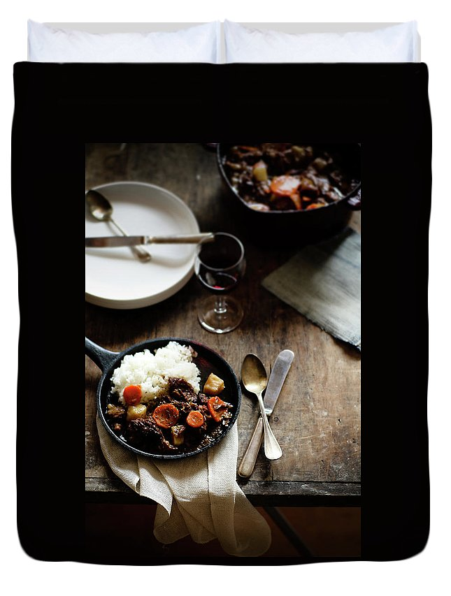 Spoon Duvet Cover featuring the photograph Red Wine Braised Beef by 200