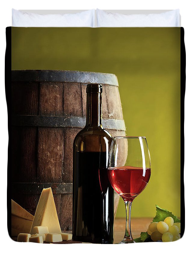 Cheese Duvet Cover featuring the photograph Red Wine Composition by Valentinrussanov