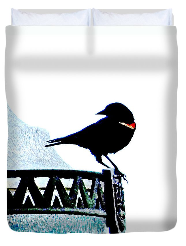 Bird Duvet Cover featuring the digital art Red Wing Posed by Lizi Beard-Ward