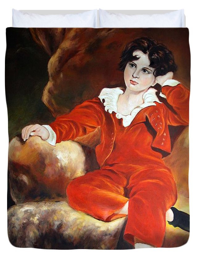 Oil Portrait Duvet Cover featuring the painting Redboy by Jian Shi
