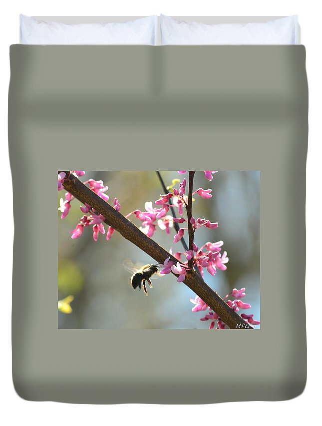 Redbud Morning Duvet Cover featuring the photograph Redbud Morning by Maria Urso