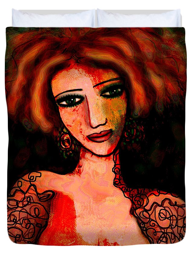 Woman Duvet Cover featuring the mixed media Redhead by Natalie Holland