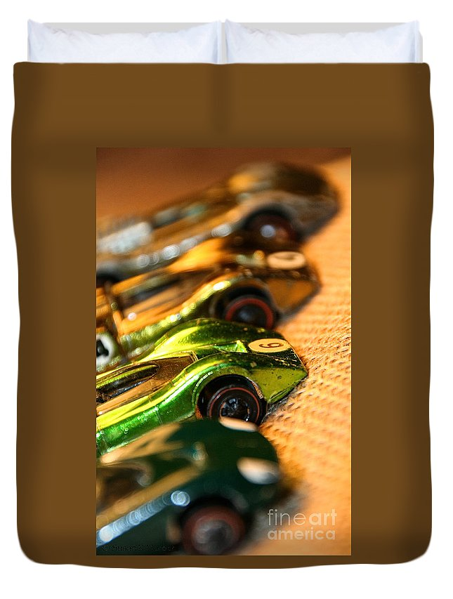 Toys Duvet Cover featuring the photograph Redline Racers by Susan Herber