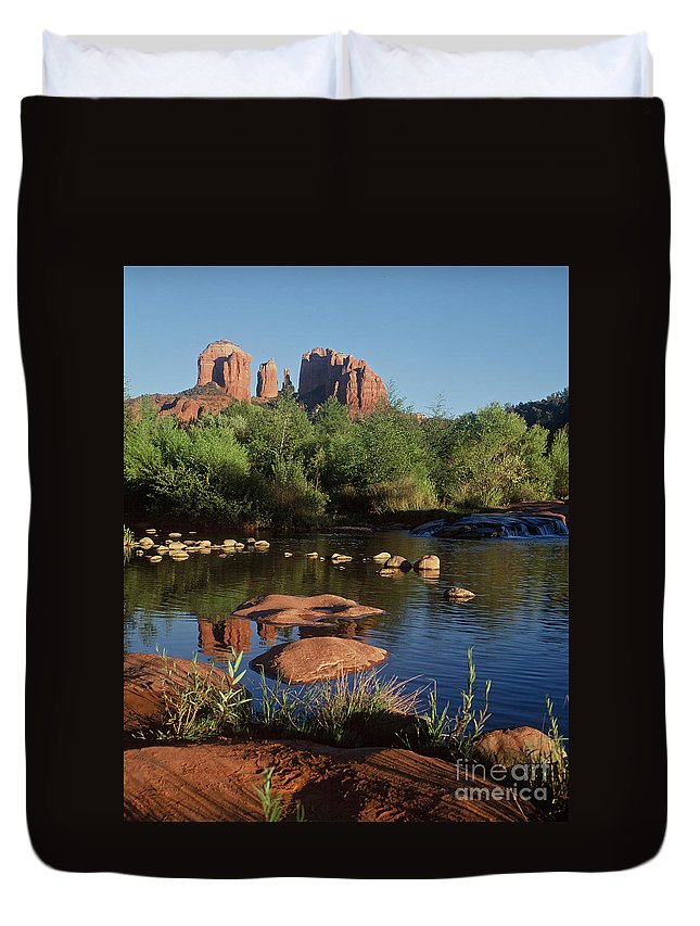 Sedona Duvet Cover featuring the photograph Redrock Crossing by Judy Bottler