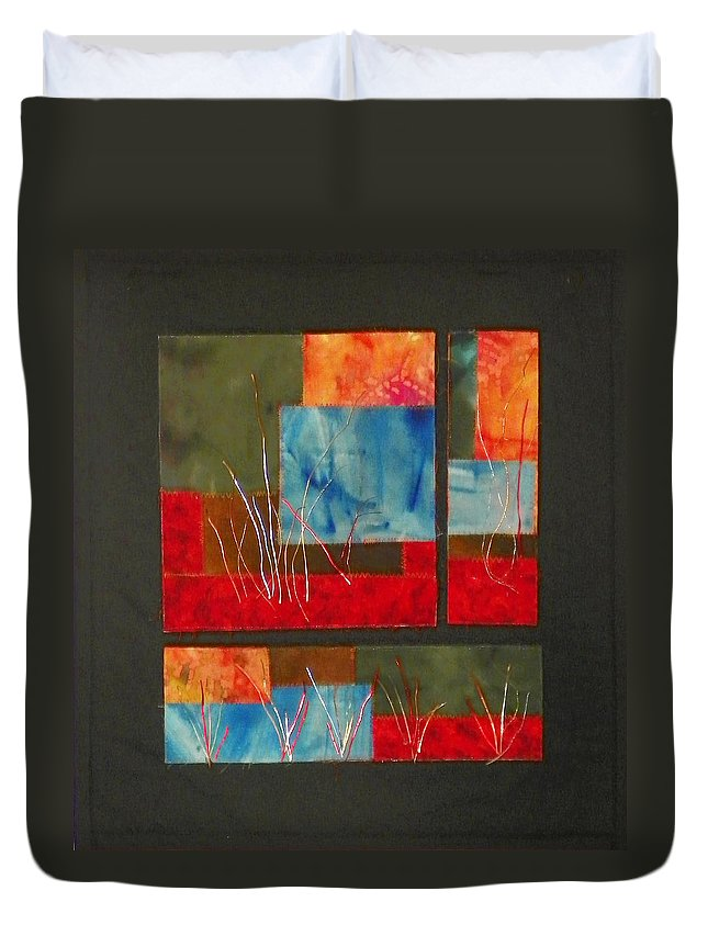 Nature Duvet Cover featuring the mixed media Reeds by Jenny Williams