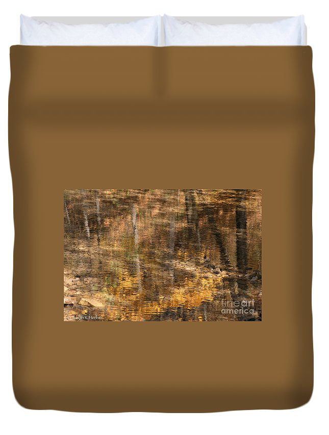 Flower Duvet Cover featuring the photograph Reflected Gold by Susan Herber