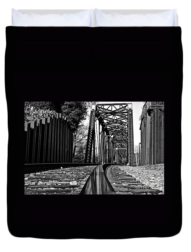 Railroad Duvet Cover featuring the photograph Reflected Strength by Reid Callaway