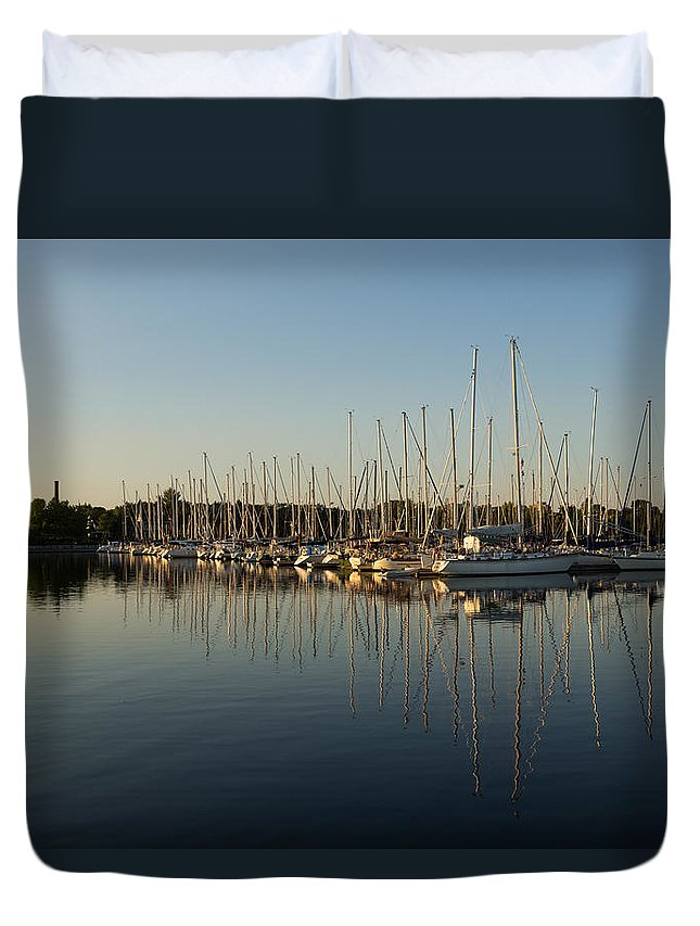 Sailboat Duvet Cover featuring the photograph Reflecting On Yachts And Sailboats by Georgia Mizuleva