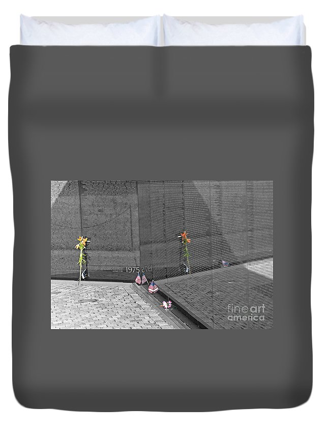 Reflection Duvet Cover featuring the photograph Reflection At The Wall II by Ken Killion