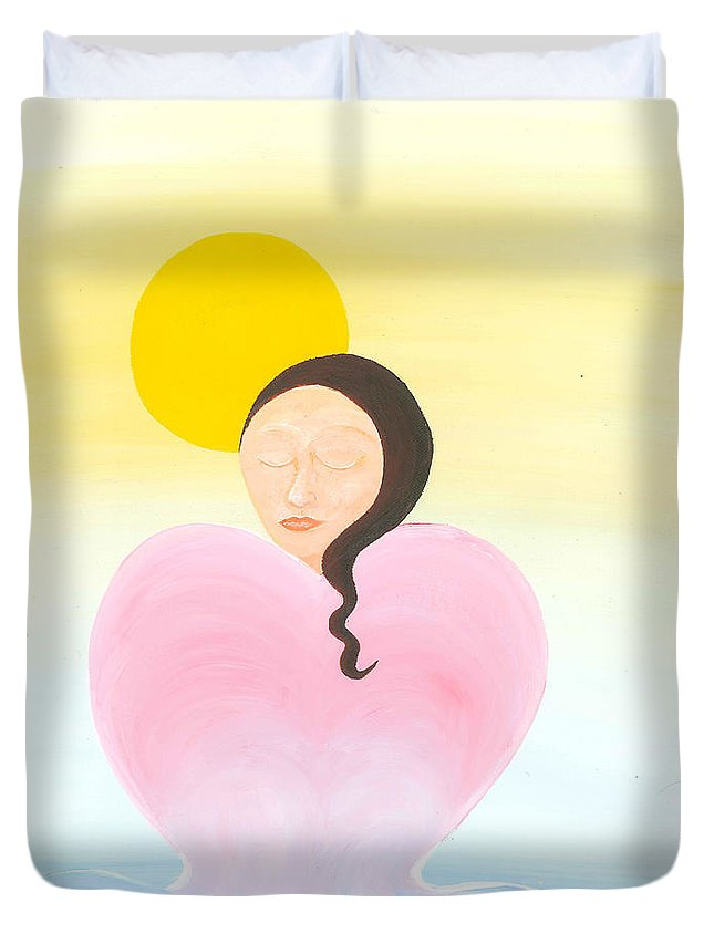 Melting Heart Duvet Cover featuring the painting Reflection by Catt Kyriacou