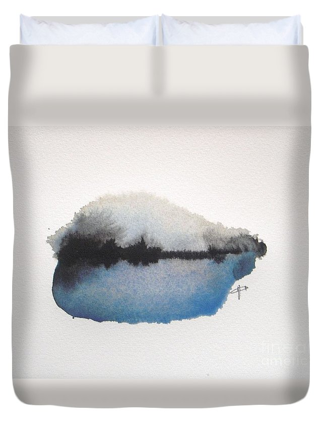 Abstract Duvet Cover featuring the painting Reflection In The Lake by Vesna Antic