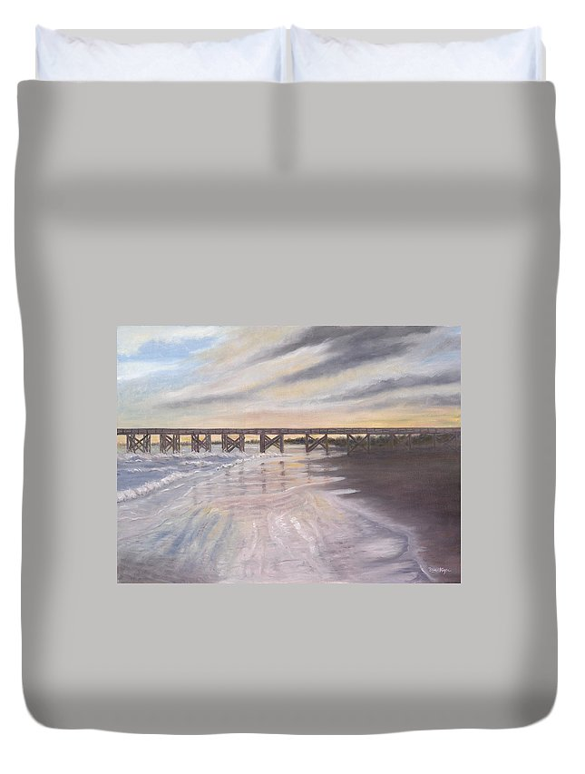 Beach; Pier; Low Country Duvet Cover featuring the painting Reflections by Ben Kiger