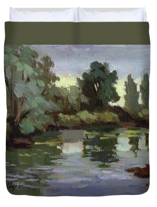 Washington Duvet Cover featuring the painting Reflections Duwamish River by Diane McClary
