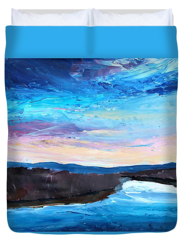 Jordan Duvet Cover featuring the painting Reflections In River Jordan Israel by M Bleichner