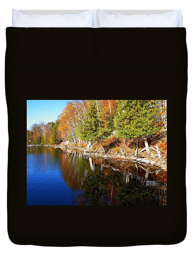 Nature Duvet Cover featuring the photograph Reflections In Water by Davandra Cribbie