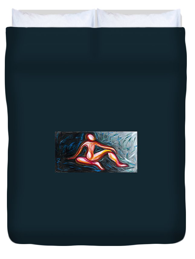 Spiritual Duvet Cover featuring the painting Reflections by Kristye Addison Dudley