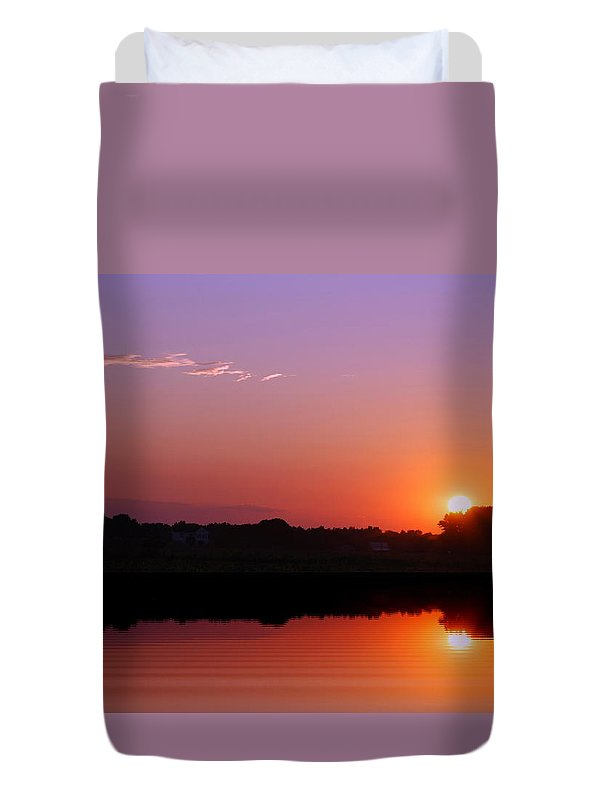 Sunset Duvet Cover featuring the photograph Reflections Of A Sunset by Francie Davis