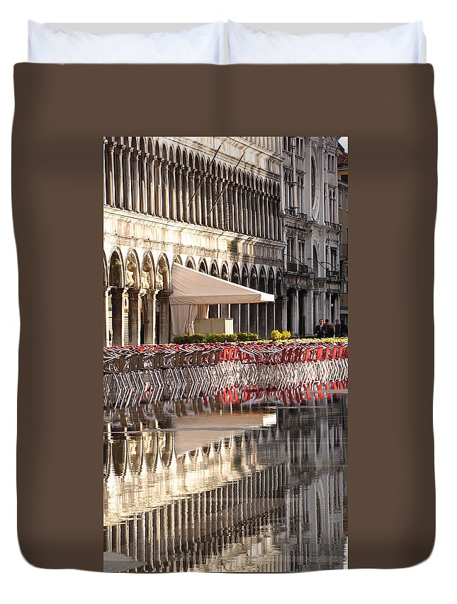 Saint Duvet Cover featuring the photograph Reflections Of Saint Mark's Square -day by Jennifer Wheatley Wolf