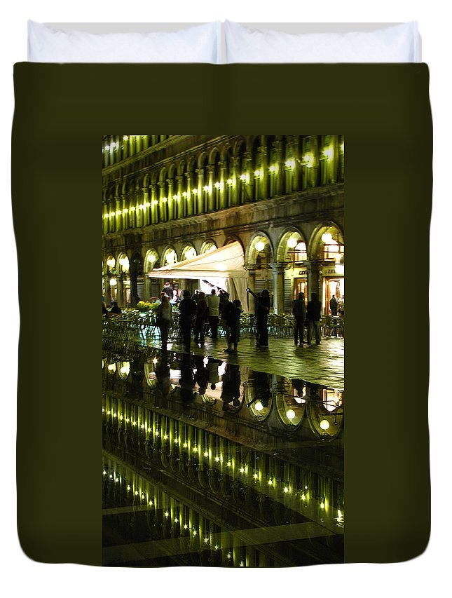 Saint Duvet Cover featuring the photograph Reflections Of Saint Mark's Square-night by Jennifer Wheatley Wolf