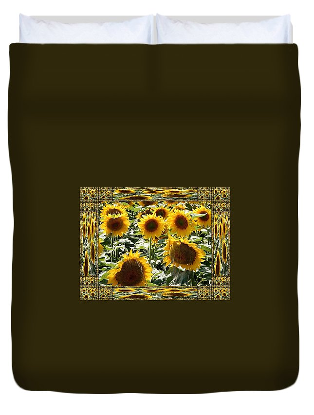 Sunflowers Paintings Duvet Cover featuring the photograph Reflections Of Sunflowers by Nikki Keep