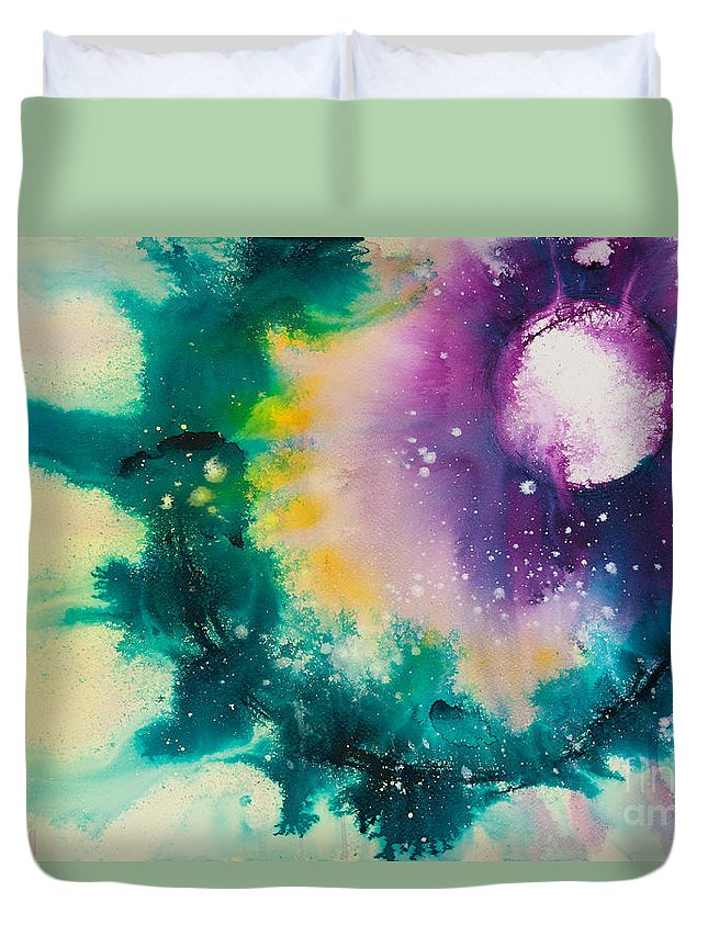 Ilisa Millermoon Duvet Cover featuring the painting Reflections Of The Universe No. 2152 by Ilisa Millermoon