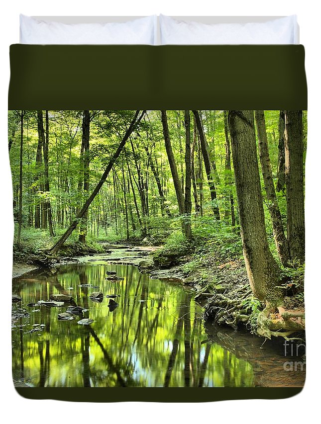 Hells Hollow Duvet Cover featuring the photograph Reflections Of Tranquility by Adam Jewell