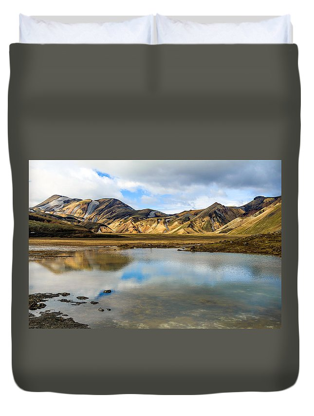 Landmannalaugar Duvet Cover featuring the photograph Reflections On Landmannalaugar by Silken Photography