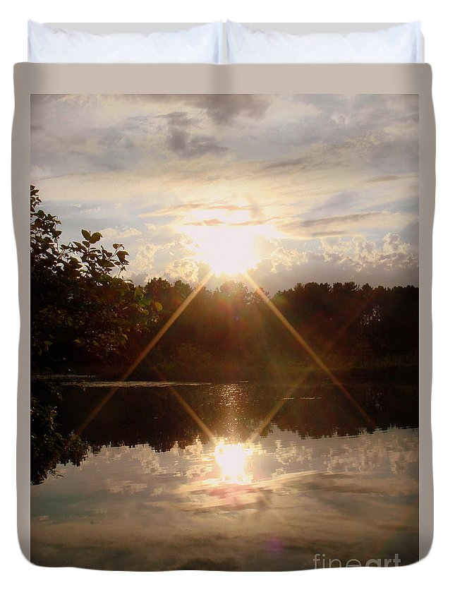 Water Duvet Cover featuring the photograph Reflections On The Bayou by Jaunine Roberts