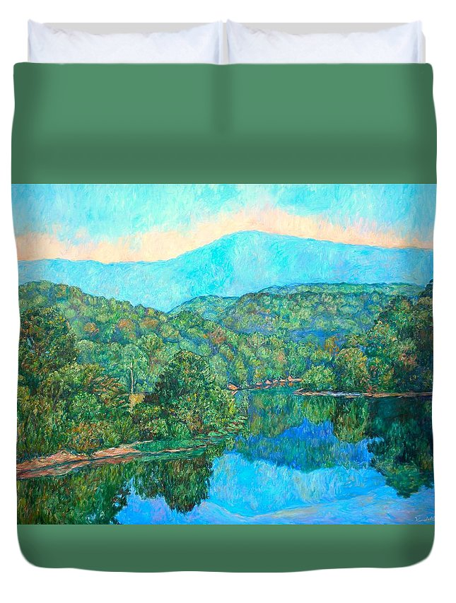 Mountainscape Duvet Cover featuring the painting Reflections On The James River by Kendall Kessler
