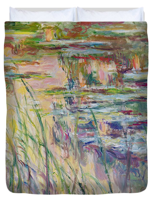 Reflection Duvet Cover featuring the painting Reflections On The Water by Claude Monet