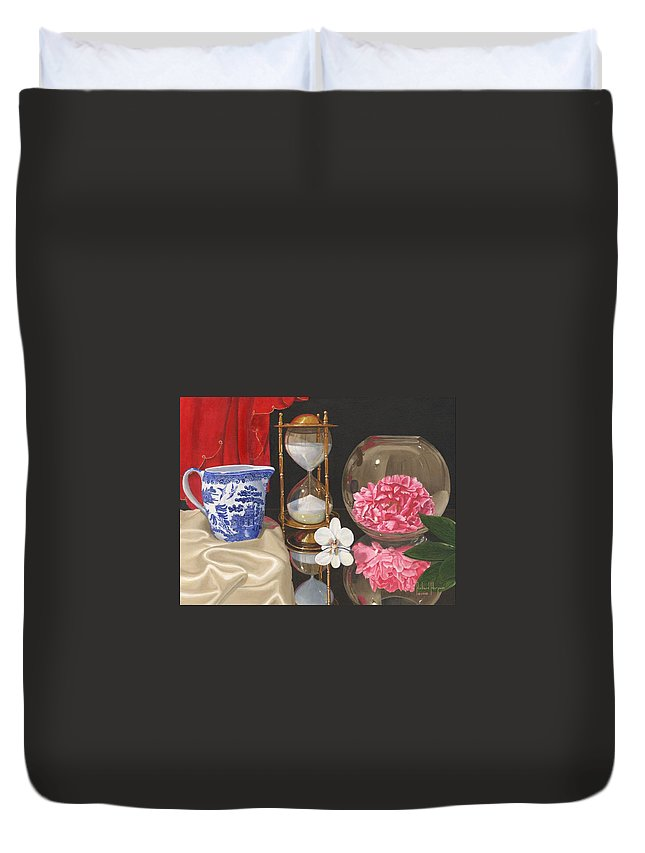 Still Life Duvet Cover featuring the painting Reflections by Richard Harpum