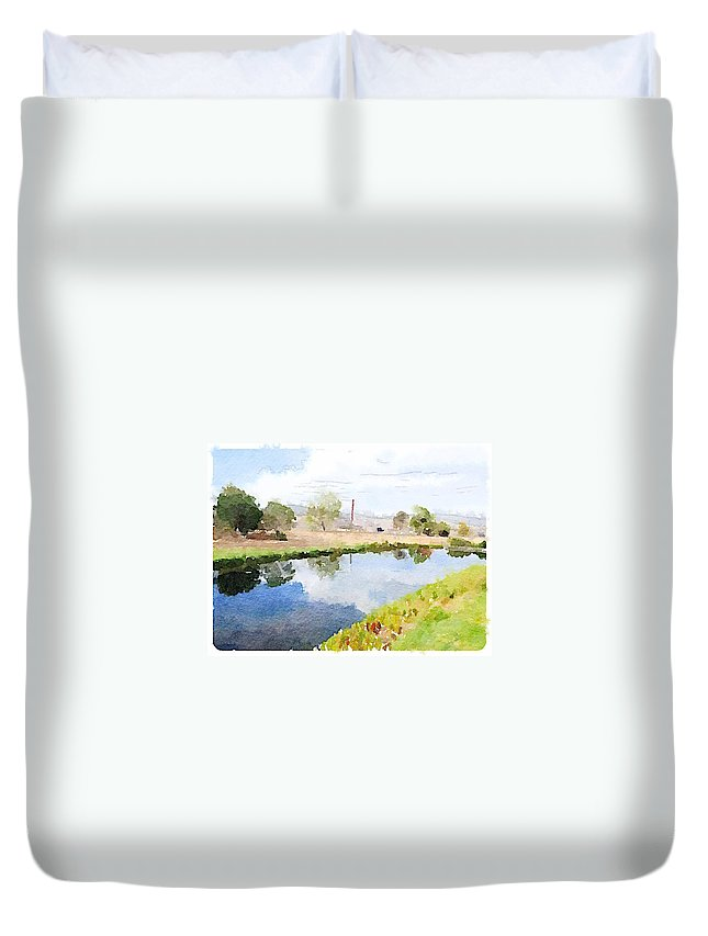 Waterlogue Duvet Cover featuring the digital art Reflections by Shannon Grissom