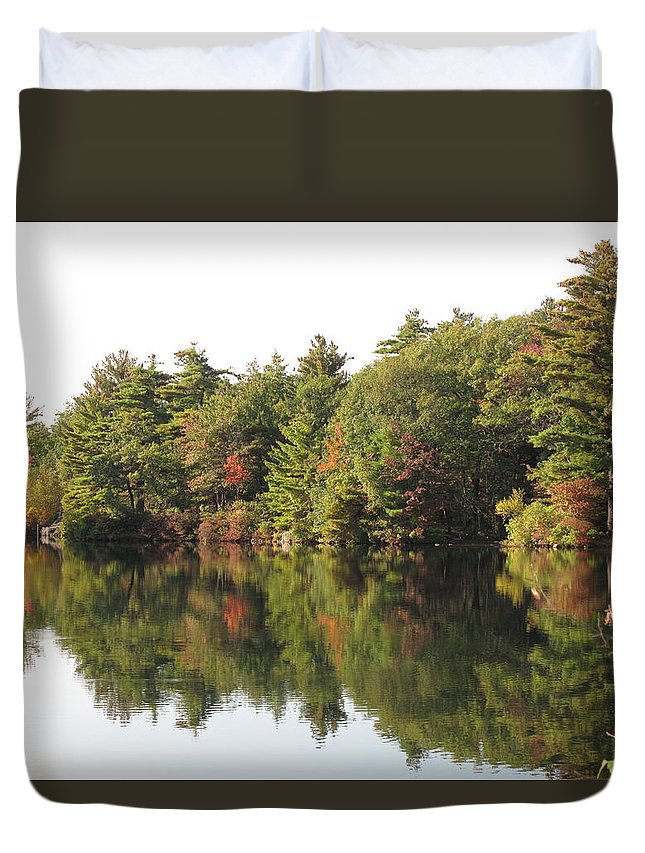 Foliage Duvet Cover featuring the photograph Reflections Two At Pearce Lake Breakheart by Barbara McDevitt