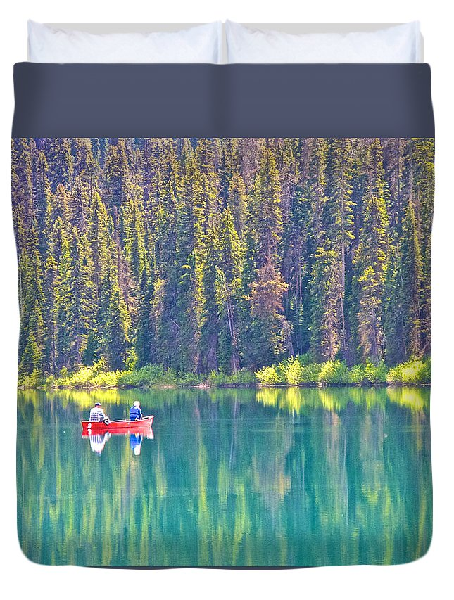 Red Fishing Boat Duvet Cover featuring the photograph Reflective Fishing On Emerald Lake In Yoho National Park-british Columbia-canada by Ruth Hager