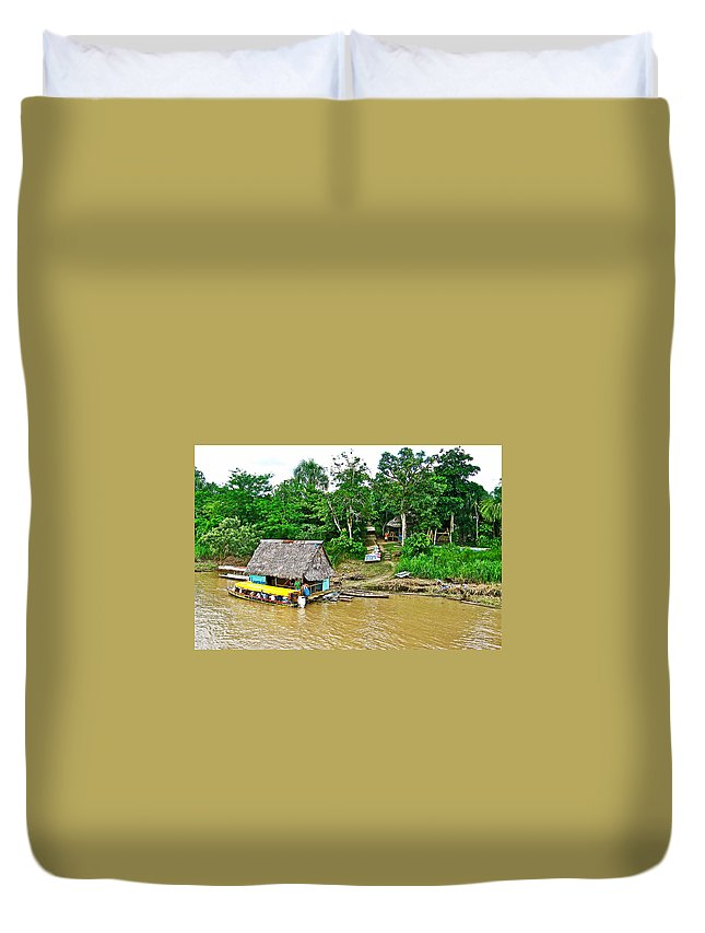 Refueling Along The Amazon River Duvet Cover featuring the photograph Refueling Along The Amazon River-peru by Ruth Hager