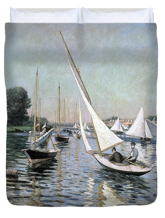 Regates; Sailing Boats; Boat; Summer; Race; Racing; Competition; Impressionist; Event Duvet Cover featuring the painting Regatta At Argenteuil by Gustave Caillebotte