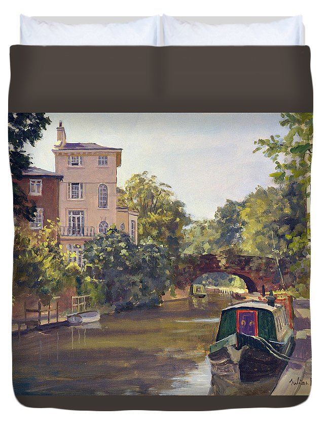 Urban Landscape; Barge; Moored; Bridge; Town House; Architecture; Summer Duvet Cover featuring the painting Regent S Park Canal by Julian Barrow