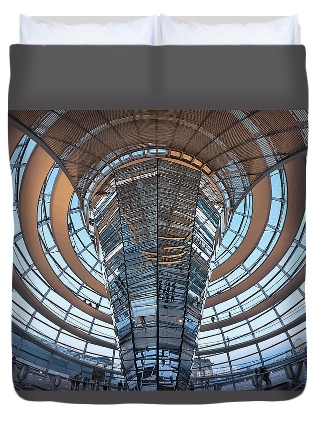 Norman Foster Duvet Cover featuring the photograph Reichstag, Dome At Dusk by Siegfried Layda