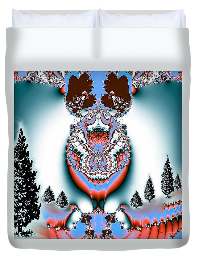 Reindeer Blues Duvet Cover featuring the digital art Reindeer Blues by Maria Urso
