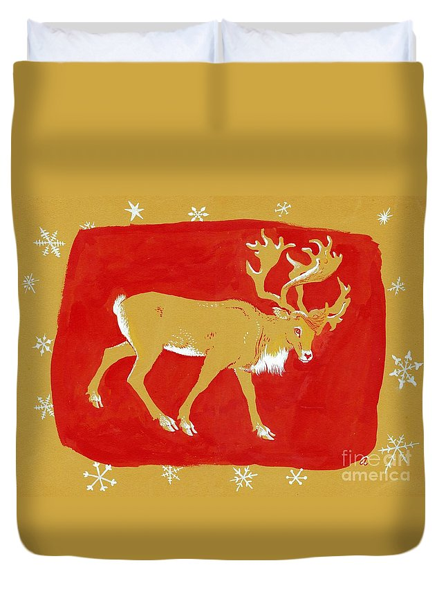 Christmas Card Duvet Cover featuring the painting Reindeer by George Adamson