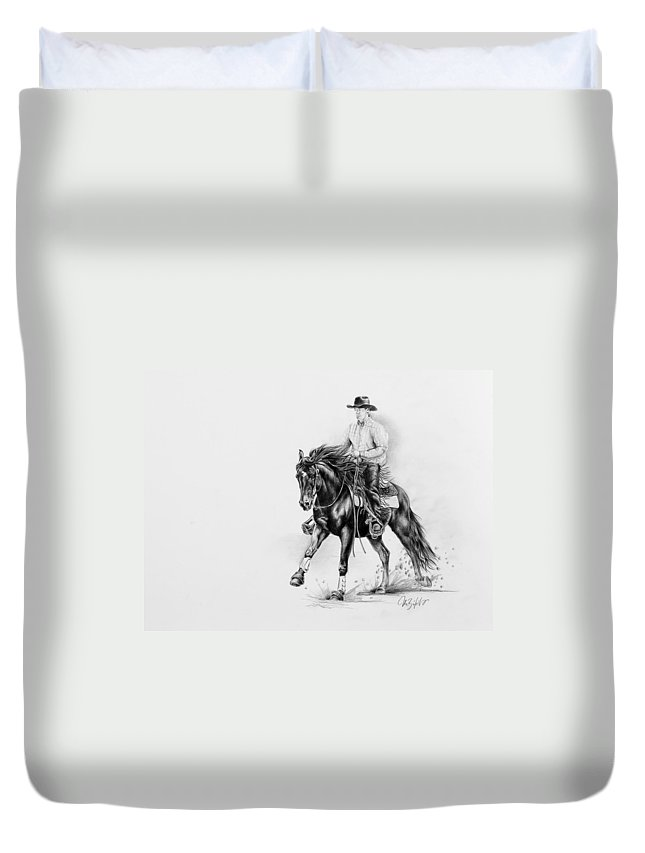 Appaloosa Duvet Cover featuring the drawing Reining by Art Imago