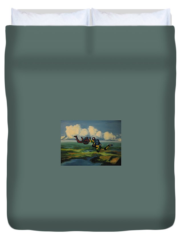 Skydivers Duvet Cover featuring the painting Relative Work by John Malone
