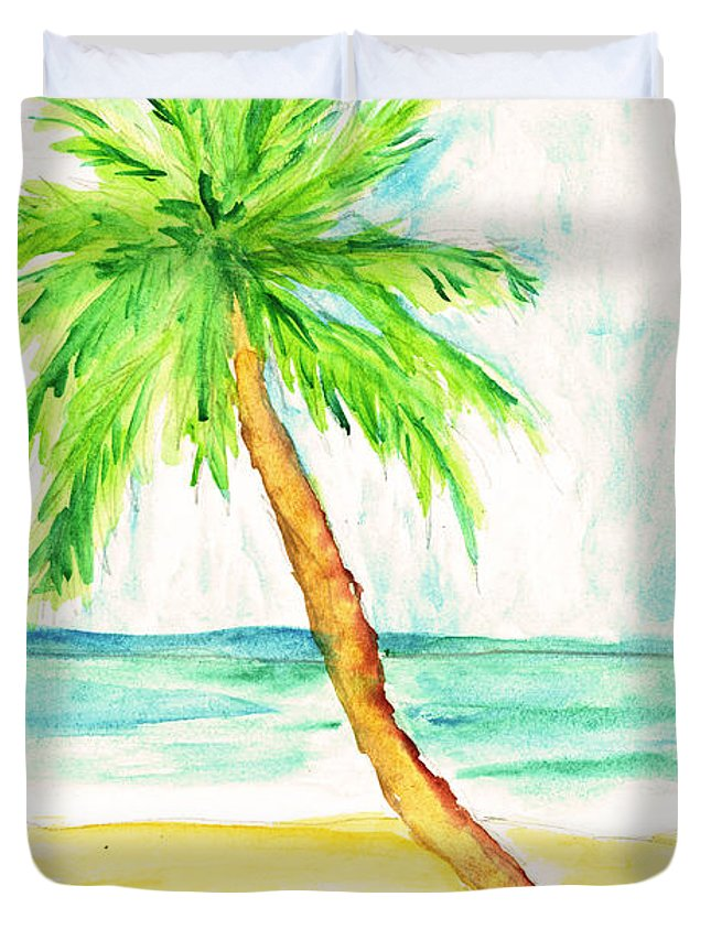 Beach Art Duvet Cover featuring the painting Relax Palm by William Depaula