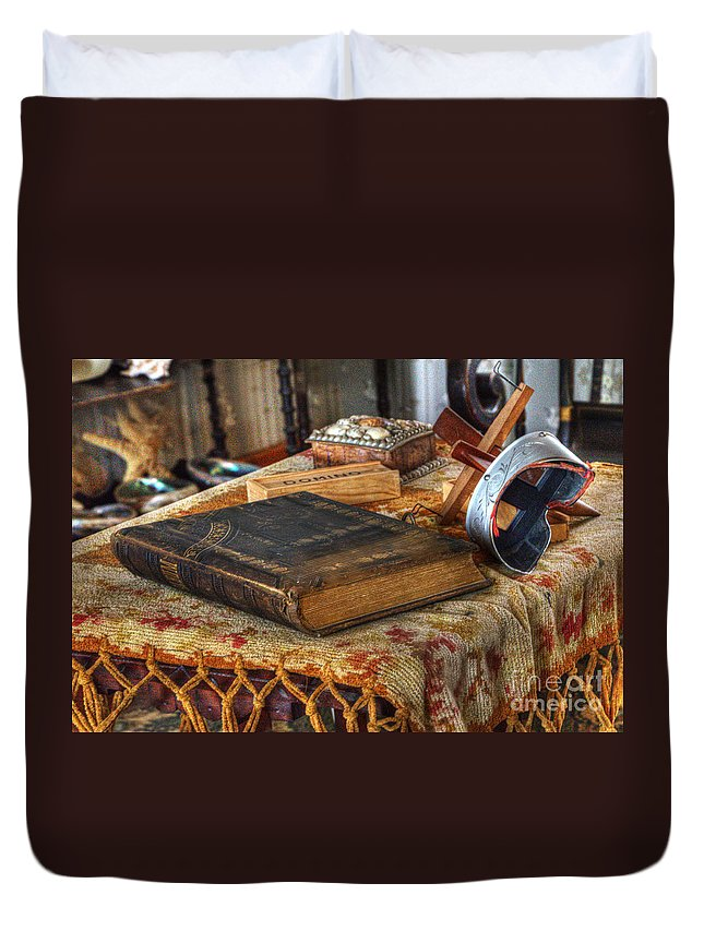 Point Loma Duvet Cover featuring the photograph Relics Of A Lighthouse Keeper by Bob Christopher